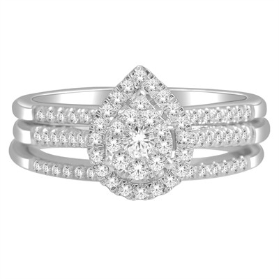 10k White Gold 1/2ct TDW Diamond Bridal Set (H-I, I2)