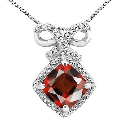 2.67Ct Cushion Shaped Garnet and Diamond Pendant in 10K Gold