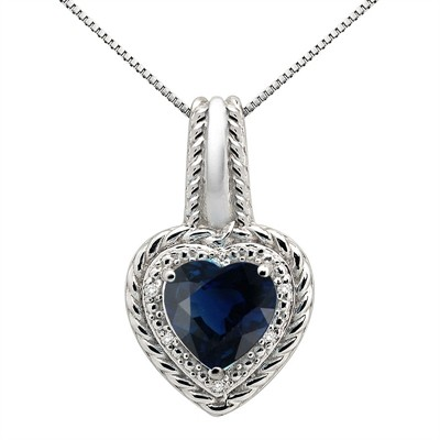 2.15Ct Heart Shaped Lab Created Sapphire and Diamond Pendant in 10K Gold