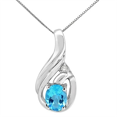 1.55Ct Round Shaped Blue Topaz and Diamond Pendant in 10K Gold