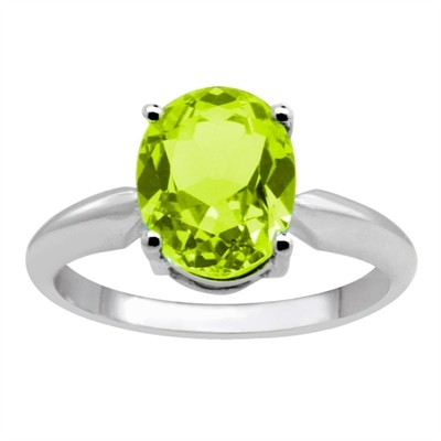 0.75Ct Oval Peridot Solitaire Ring in 14k Gold