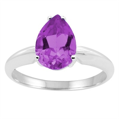 1.10Ct Pear Amethyst Solitaire Ring in 14k Gold