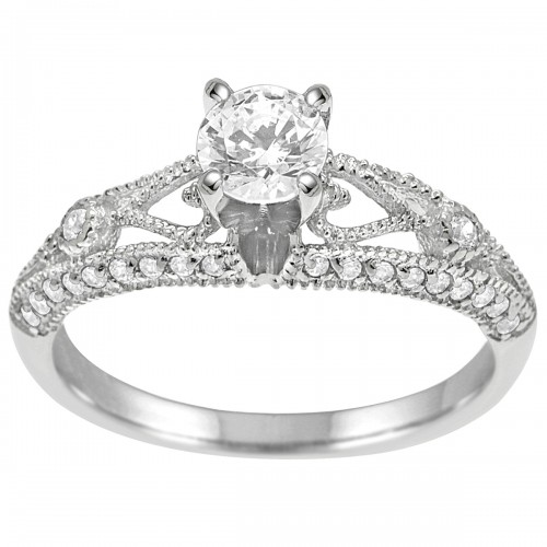 1.00CT Antique Style Diamond Engagement Ring in 14K White Gold