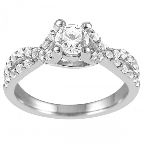 1.00CT Diamond Engagement Ring in 10K White Gold