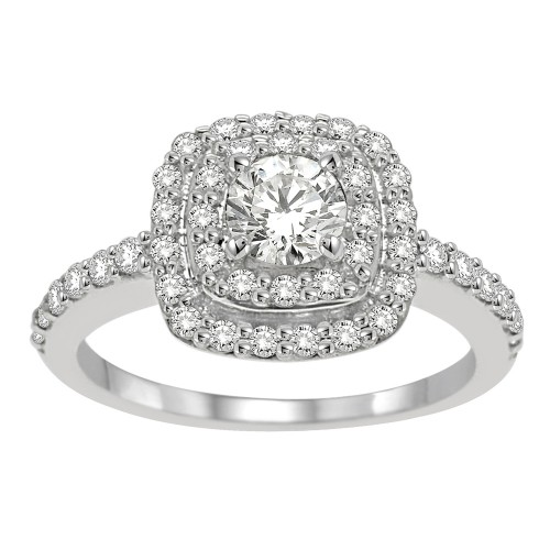 1.00CT Halo Diamond Engagement Ring in 10K White Gold