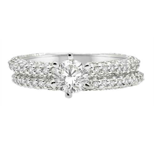 1.60CT Diamond Bridal Ring Set in 14k White Gold