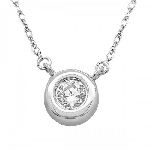0.50ct Diamond Bazel Pendant in 14K White Gold