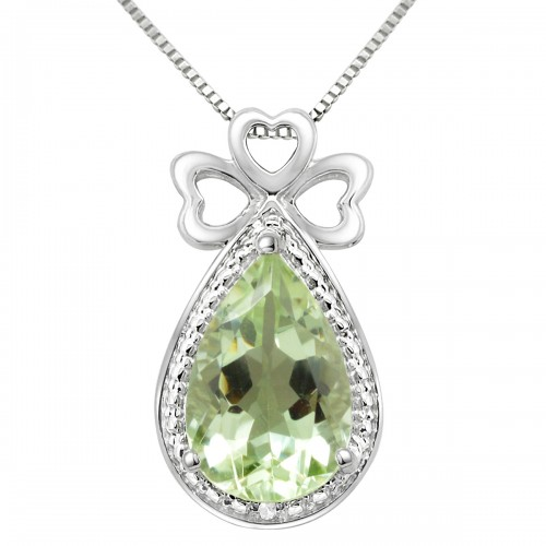 Pear Shaped Green Amethyst Pendant in .925 Sterling Silver