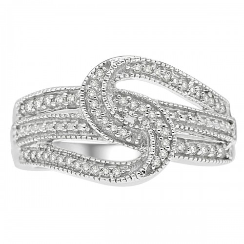 0.25CT Interconnected Diamond Ring in 925 Sterling Silver