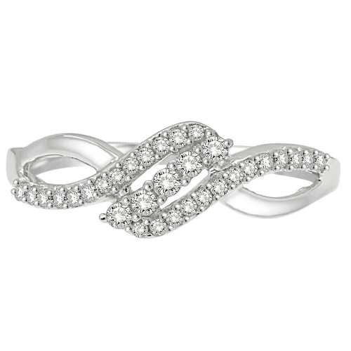 0.25CT Diamond Twist Ring in 925 Sterling Silver