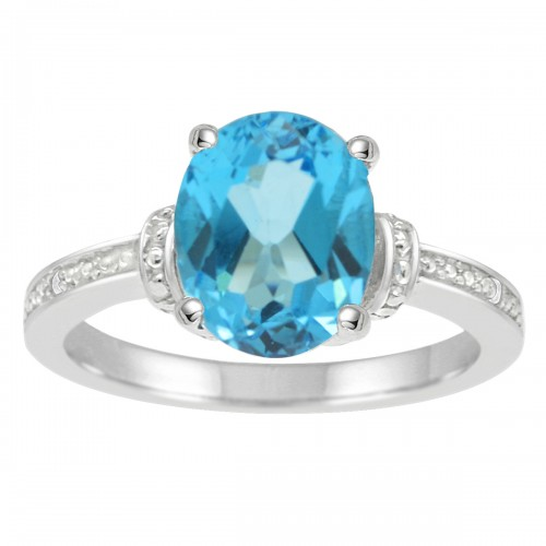 Oval Blue Topaz and Diamond Ring in 10K White Gold