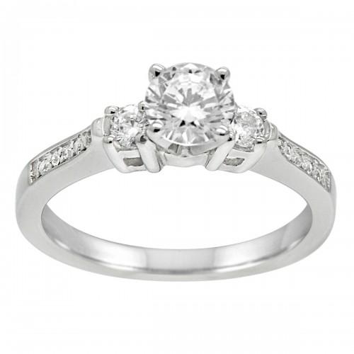 1.00CT Three Stone Diamond Engagement Ring in 14k White Gold