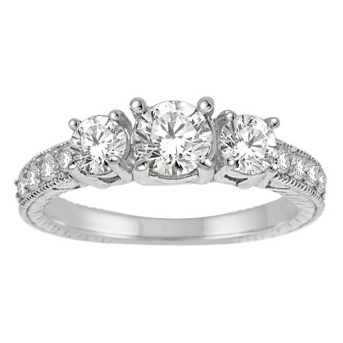 1.50CT Three Stone Diamond Ring in 14k White Gold