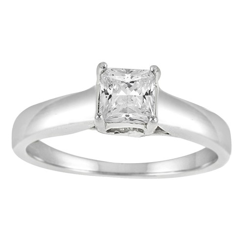 0.50CT Princess Cut Diamond Ring in14k White Gold
