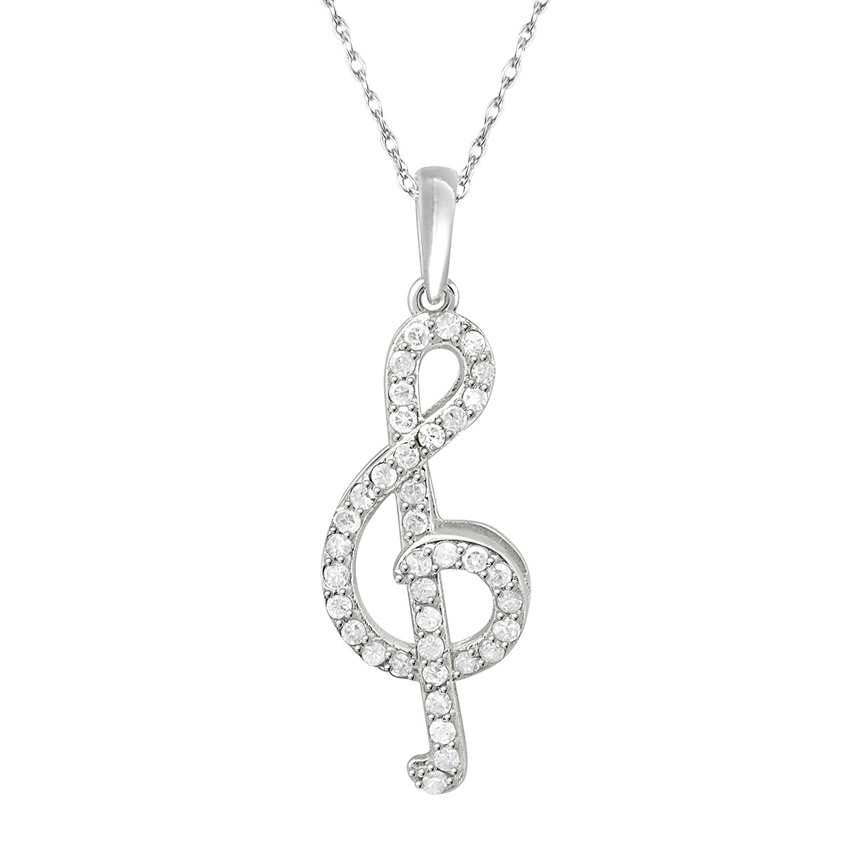 sterling zirconia necklace womens silver s note with image women musical products cubic product pendant
