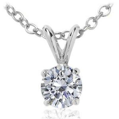 0.10 CT Round Diamond Solitaire Pendant in 14K White Gold