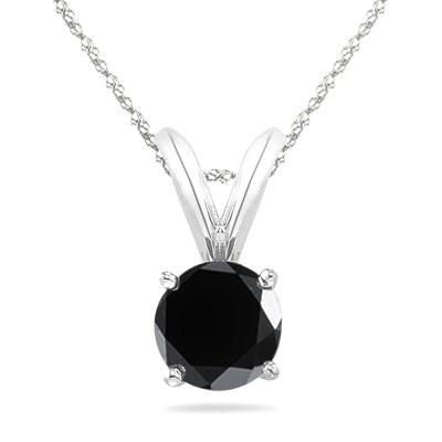 0.25 CT Round Black Diamond Solitaire Pendant in 14K White Gold