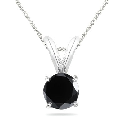 1.00 CT Round Black Diamond Solitaire Pendant in 14K White Gold
