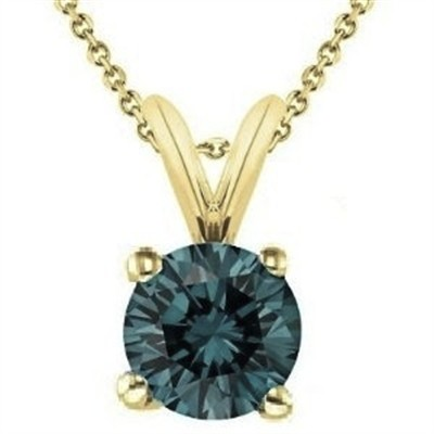 0.75 CT Round Blue Diamond Solitaire Pendant in 14K Yellow Gold