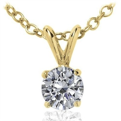 0.10 CT Round Diamond Solitaire Pendant in 14K Yellow Gold