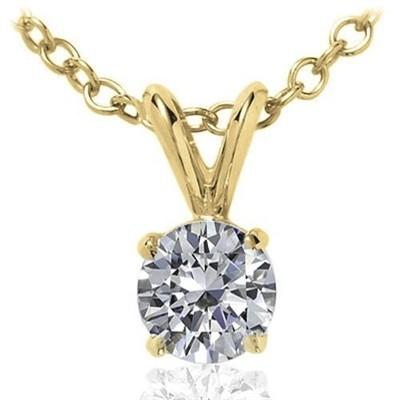 0.10 CT Round Diamond Solitaire Pendant in 14K Yellow Gold