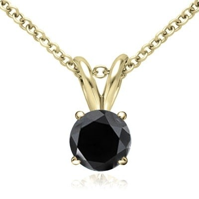 1.00 CT Round Black Diamond Solitaire Pendant in 14K Yellow Gold