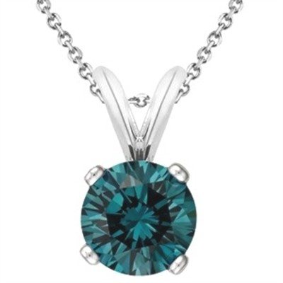 1.00 CT Round Blue Diamond Solitaire Pendant in 14K White Gold