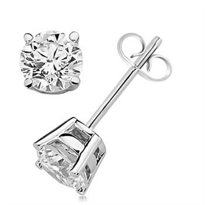 1.00 CTW Round Diamond Solitaire Stud Earrings in 14K White Gold
