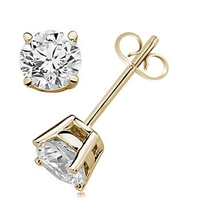 1.00 CTW Round Diamond Solitaire Stud Earrings in 14K Yellow Gold