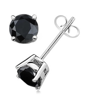 1.50 CTW Round Black Diamond Solitaire Stud Earrings in 14K White Gold