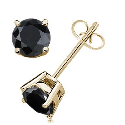0.75 CTW Round Black Diamond Solitaire Stud Earrings in 14K Yellow Gold