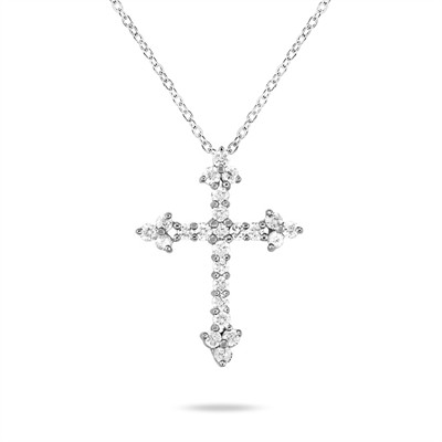 0.24 Carat Diamond Cross Pendant in 10K White Gold