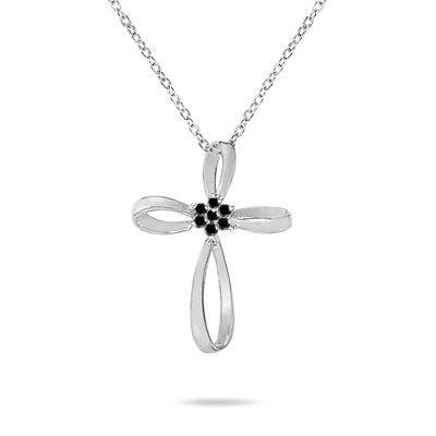 0.28 Carat Black Diamond Flower Cross Pendant in 10K White Gold