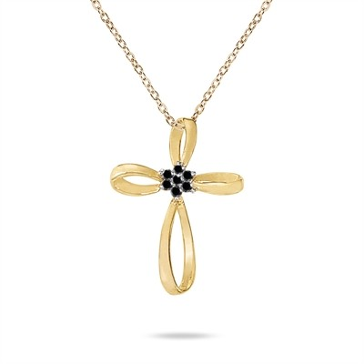 0.28 Carat Black Diamond Flower Cross Pendant in 10K Yellow Gold