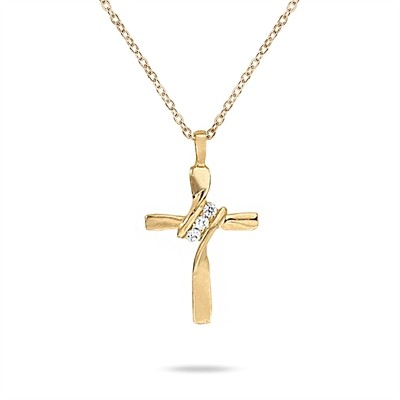 3 Stone Diamond Cross Pendant in 10K Yellow Gold