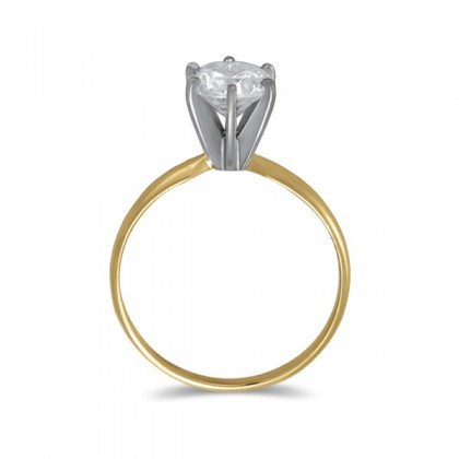 0.10 CT Diamond Solitaire Ring in 14K Yellow Gold