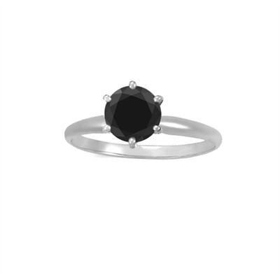 1.00 CT Black Diamond Solitaire Ring in 14K White Gold