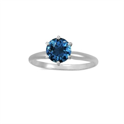 1.00 CT Blue Diamond Solitaire Ring in 14K White Gold