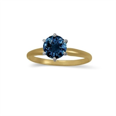 1.00 CT Blue Diamond Solitaire Ring in 14K Yellow Gold