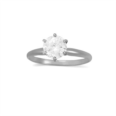 1.00 CT Diamond Solitaire Ring in 14K White Gold