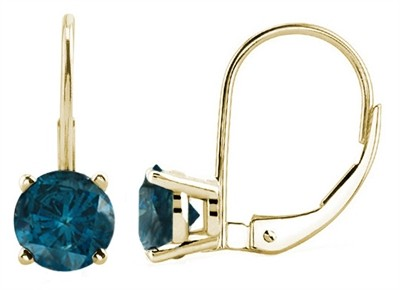 1.00 CTW Round Blue Diamond Leverback Earrings in 14K Yellow Gold