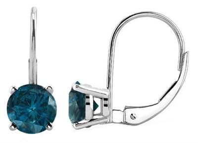 1.00 CTW Round Blue Diamond Leverback Earrings in 14K White Gold