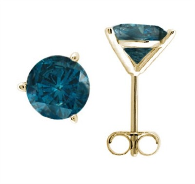 1.00 CTW Round Blue Diamond Martini-set Stud Earrings in 14K Yellow Gold