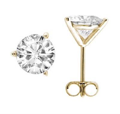 1.00 CTW Round Diamond Martini-set Stud Earrings in 14K Yellow Gold