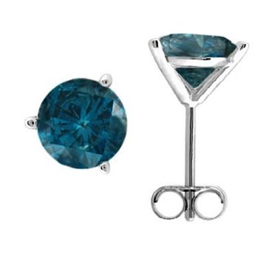 1.00 CTW Round Blue Diamond Martini-set Stud Earrings in 14K White Gold