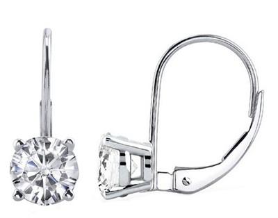 0.75 CTW Round Diamond Leverback Earrings in 14K White Gold