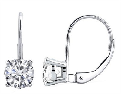 0.60 CTW Round Diamond Leverback Earrings in 14K White Gold