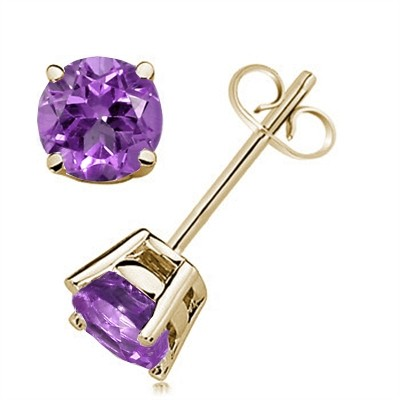 1.6Ct Round Amethyst Earrings in 14k Yellow Gold