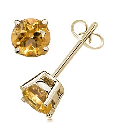 3.65Ct Round Citrine Earrings in 14k Yellow Gold