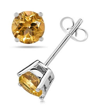 2.4Ct Round Citrine Earrings in 14k White Gold